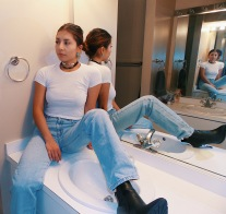 Crop top and High waisted light washed jeans Village Discount Thirft Store