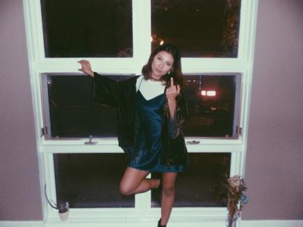 Kimono Urban Outfitters, Heel booties Steve Maden, Slip dress Village Discount Thrift store